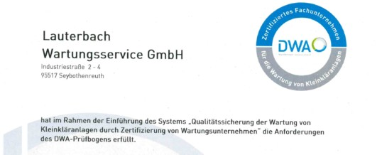 Zertifiziertes Wartungsunternehmen der DWA
